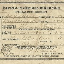 Image of Dues receipt, Improved Order of Red Men