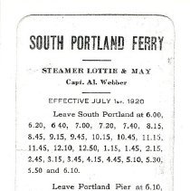 Image of South Portland ferry schedule 1920