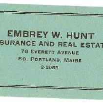 Image of Embrey W. Hunt business card