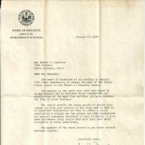 Image of Letter to Edward C. Reynolds from Board of Education