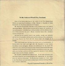 Image of Edward C. Reynolds campaign flier