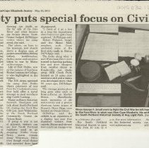 Image of Civil War exhibit article 5/13/2011
