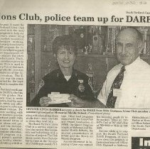 Image of Lions Club - DARE donation article