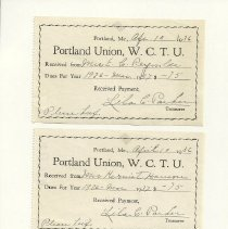 Image of Women's Christian Temperance Union receipt for dues