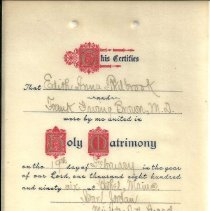 Image of Marriage Certificate - Frank I Brown