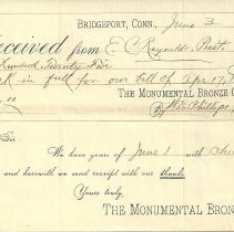 Image of Receipt for Soldiers' and Sailors' Monument