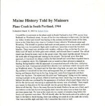 Image of Maine History Told By Mainers: Redbank Fire 1944