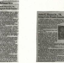 Image of John E. Hayes Jr. obituary, founder of King Cole