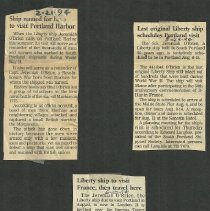 Image of three articles about the Jeremiah O'Brien's upcoming visit to Portland