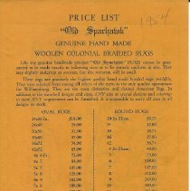 Image of Price list, 1954, Old Sparhawk Mills