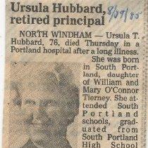 Image of Ursula Hubbard - obituary 1985