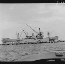 Image of S.S. Ethan Allen tied up at outfitting pier, 1942