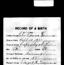 Image of Record of birth - Lelia Timmons Prout