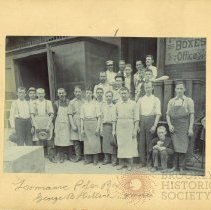Image of [Men gathered in front of the Lawrence Paper Box Co.] - Brooklyn Prohibition collection