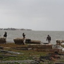 Image of [Stone platform damage from Hurrican Sandy] - MIchael Claro Hurricane Sandy Photographs