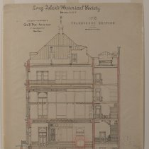 Image of Long Island Historical Society, Transverse Section - 128 Pierrepont Street building architectural drawings