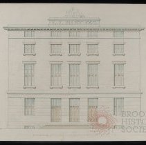 Image of Architectural Drawing for the Long Island Historical Society, elevation facing West - 128 Pierrepont Street building architectural drawings