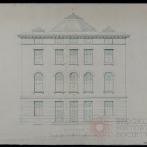 Image of Architectural Drawing for the Long Island Historical Society, Clinton Street Elevation - 128 Pierrepont Street building architectural drawings