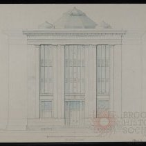 Image of Architectural Drawing for the Long Island Historical Society, Pierrepont Street Elevation - 128 Pierrepont Street building architectural drawings