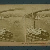 Image of Suspension Bridge and New York City, from Brooklyn, U. S. A. - Early Brooklyn and Long Island photograph collection
