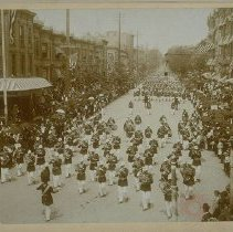 Image of Military band marching in the Brooklyn Memorial Day Parade. - Early Brooklyn and Long Island photograph collection