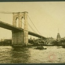 Image of [Brooklyn Bridge and Fulton Ferry landing] - Early Brooklyn and Long Island photograph collection