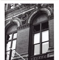 Image of [Windows of Long Island Historical Society, Pierrepont Street and Clinton Street] - Long Island Historical Society photographs