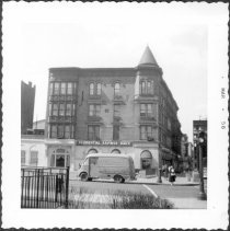 Image of [Prudential Savings Bank on southwest corner of Clinton Avenue (Clinton Avenue side facing camera) and Myrtle Avenue (at far right).] - John D. Morrell photographs