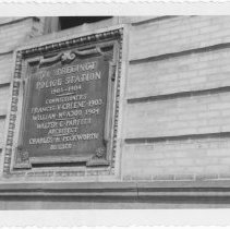 Image of [Plaque on old Police Station.] - John D. Morrell photographs
