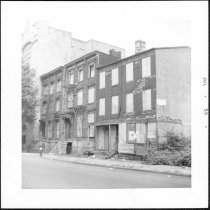 Image of [Old houses on east side of Lawrence Street between Johnson Street and Tillary Street.] - John D. Morrell photographs
