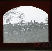 Image of [Procession of police, firemen and a marching band] - Adrian Vanderveer Martense collection