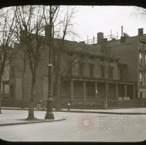 Image of Old House, corner of Lafayette Avenue and Bushwick Avenue - Ralph Irving Lloyd lantern slides