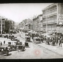 "Image of Fulton Street before the ""L"" came - Ralph Irving Lloyd lantern slides"