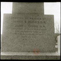 Image of Monument to [James E. DuBois, M.D.] and [John L. Crane, M.D.], New Utrecht Church Yard - Ralph Irving Lloyd lantern slides