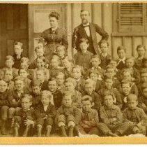 Image of [Class portrait of boy students, man and woman teachers] - Burton family papers and photographs