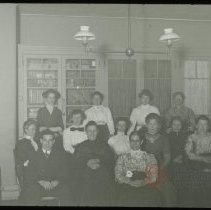 Image of [Group Portrait of Sunday School Staff] - Emmanuel House lantern slide collection