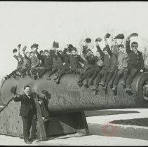 Image of [Boys at Fort Hamilton cannon] - Emmanuel House lantern slide collection