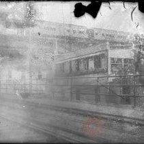Image of [Elevated train line with train in transit] - William Koch glass plate negatives