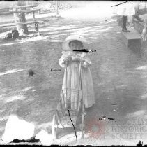 Image of [Little girl with doll's wagon in yard] - William Koch glass plate negatives