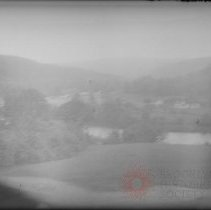 Image of [Landscape view with hills, river, farmhouse and buildings] - William Koch glass plate negatives