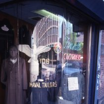 Image of [Store window at Realiable and Frank's] - Frank J. Trezza Seatrain Shipbuilding collection