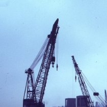 Image of [Cranes on pier J] - Frank J. Trezza Seatrain Shipbuilding collection