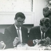 Image of [Robert F. Kennedy eating lunch] - Anthony Costanzo Brooklyn Navy Yard collection