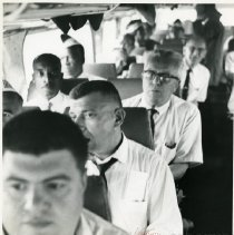 Image of [Riding to the rally on buses] - Anthony Costanzo Brooklyn Navy Yard collection