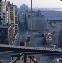 Image of [View south down Water Street taken from Brooklyn Bridge] - DUMBO, Brooklyn waterfront photographs and slides