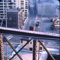 Image of [View south down Water Street from Brooklyn Bridge] - DUMBO, Brooklyn waterfront photographs and slides