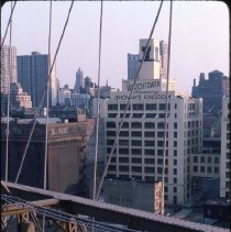 Image of [View of Watchtower Building, looking down from the Brooklyn Bridge] - DUMBO, Brooklyn waterfront photographs and slides