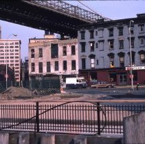 Image of [View northeast from pier at Fulton Ferry Landing] - DUMBO, Brooklyn waterfront photographs and slides