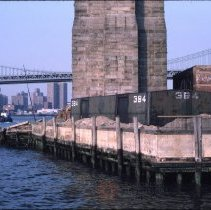 Image of [Fulton Ferry Landing pier, Manhattan bridge and East River] - DUMBO, Brooklyn waterfront photographs and slides