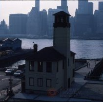 Image of [Fulton Ferry Fireboat house, East River, and Manhattan skyline] - DUMBO, Brooklyn waterfront photographs and slides